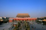 The Duanmen (Upright Gate) sits between Tiananmen (Gate of Heavenly Peace) and Wumen (Meridian Gate), the main entrance to the Forbidden City. The gate was built in 1420 during the Ming Dynasty (1368 - 1644).<br/><br/>  The Forbidden City, built between 1406 and 1420, served for 500 years (until the end of the imperial era in 1911) as the seat of all power in China, the throne of the Son of Heaven and the private residence of all the Ming and Qing dynasty emperors. The complex consists of 980 buildings with 8,707 bays of rooms and covers 720,000 m2 (7,800,000 sq ft).